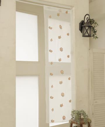 3COINS(スリーコインズ) 刺繍セパレートカーテン:キンモクセイ柄