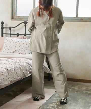3COINS(スリーコインズ) 【自分好みのベッドルーム】パイピングパジャマ:Mサイズ