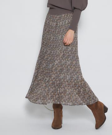 La boutique BonBon(ラブティックボンボン) 【シックなプリントで大人の女性を演出】プリーツスカート