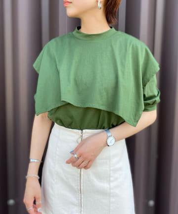 Thevon(ゼヴォン) 5分袖ケープTシャツ