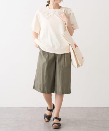 pual ce cin(ピュアルセシン) カットワークレースつけ衿Tシャツ