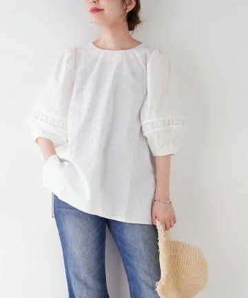 natural couture(ナチュラルクチュール) 【WEB限定】タックギャザーボリューム袖2WAYブラウス