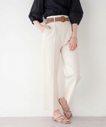 natural couture(ナチュラルクチュール) ストレッチリネンおしゃれベルト付きパンツ