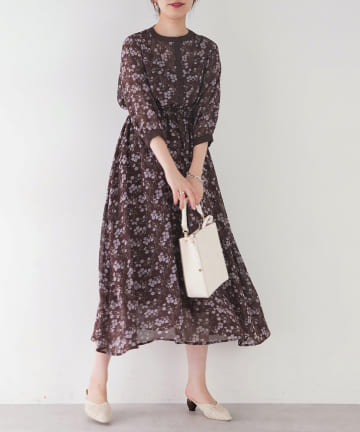 natural couture(ナチュラルクチュール) 配色切替花柄ワンピース