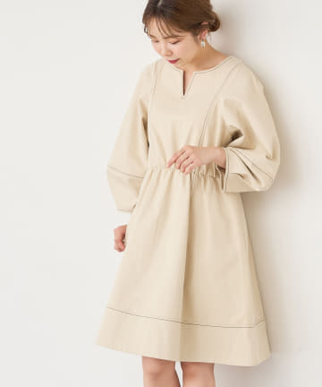 natural couture(ナチュラルクチュール) 【着用動画あり】【WEB限定】ランタンスリーブチュニックワンピース