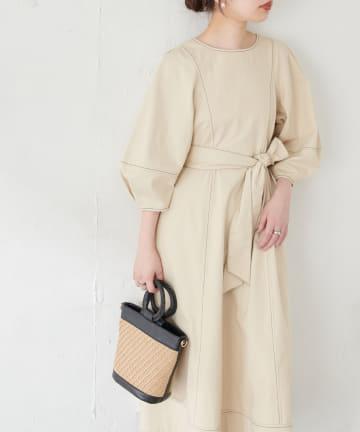 natural couture(ナチュラルクチュール) 【WEB限定】ランタンスリーブワンピース