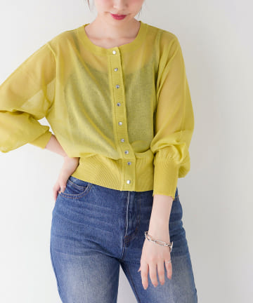 natural couture(ナチュラルクチュール) ドット釦シアーカーディガン