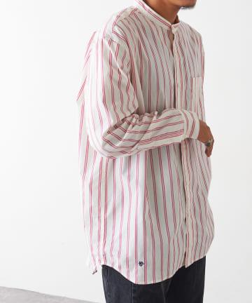 Discoat(ディスコート) カラーストライプビックバンドカラーシャツ