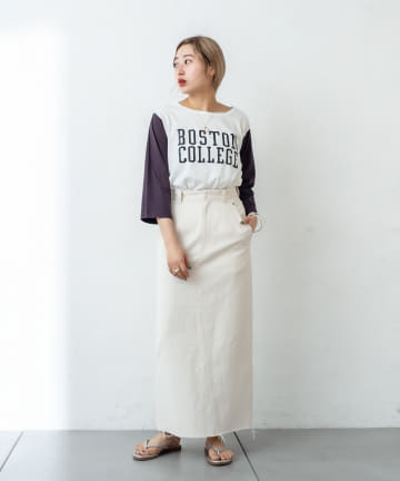 OUTLET(アウトレット) 【mystic】配色カレッジTシャツ