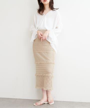NICE CLAUP OUTLET(ナイスクラップ アウトレット) 【natural couture】透かし編みフリンジスカート