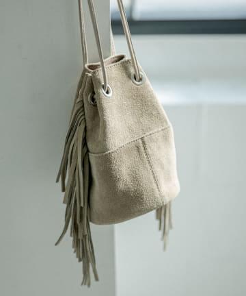 La boutique BonBon(ラブティックボンボン) 《予約》【MARCO MASI】サイドフリンジ巾着ミニスエードバッグ