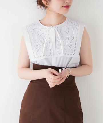 natural couture(ナチュラルクチュール) 【WEB限定】レース切替ビッグ衿ノースリブラウス