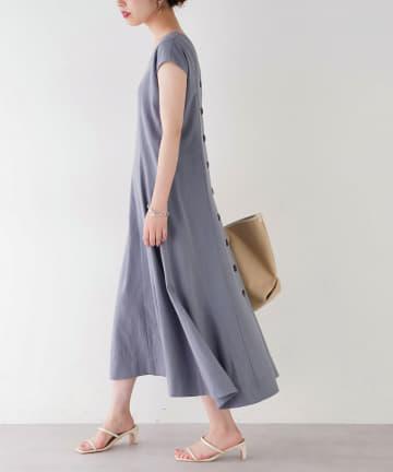 natural couture(ナチュラルクチュール) 【着用動画あり】MAYUKOさんコラボ前後2WAY多釦フレアワンピース