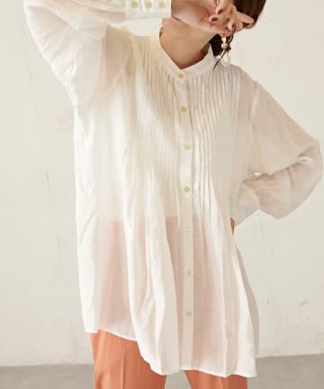 Discoat(ディスコート) 【WEB限定】ピンタックバンドカラーシャツ