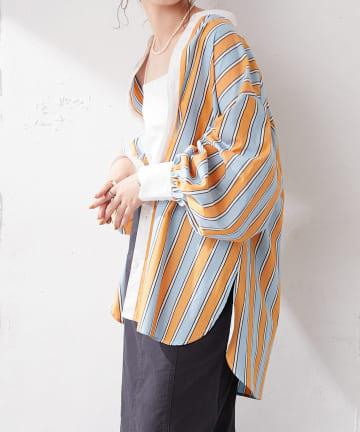 Discoat(ディスコート) マルチストライプバンドカラーシャツ
