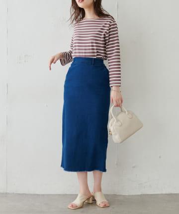 natural couture(ナチュラルクチュール) ストレッチデニムIラインスカート
