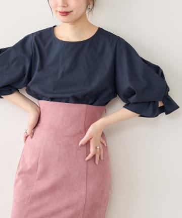 natural couture(ナチュラルクチュール) ねじりタックバルーンブラウス