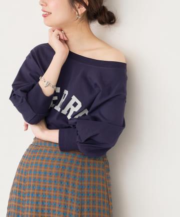 natural couture(ナチュラルクチュール) 【WEB限定】カレッジロゴボリュームスリーブT
