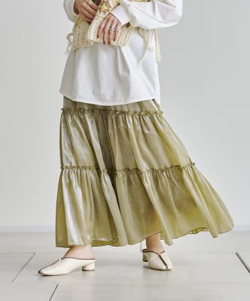 CPCM(シーピーシーエム) シャイニーポプリンティアードスカート