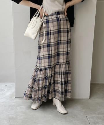 CAPRICIEUX LE'MAGE(カプリシュレマージュ) チェックギャザーマーメイドスカート