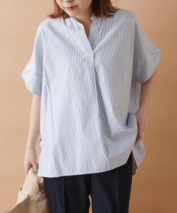 un dix cors(アンディコール) 《予約》【スッキリとした清涼感のある印象】ストライプスキッパーシャツ