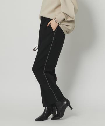 RIVE DROITE(リヴドロワ) 【脚のラインを拾いすぎない美脚パンツ】ダブルクロスハイウエストイージーパンツ