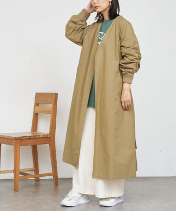 BONbazaar(ボンバザール) 袖リブノーカラーコート