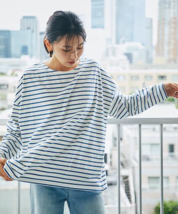 RIVE DROITE(リヴドロワ) 【シンプルなスタイリングの主役に】ボーダーワイドロンTシャツ