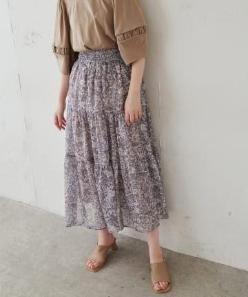 natural couture(ナチュラルクチュール) エスニック柄落ち感ティアードスカート