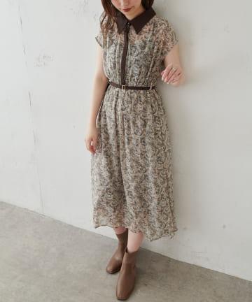 natural couture(ナチュラルクチュール) 【WEB限定カラー有り】襟付きレトロワンピース
