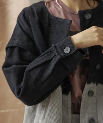 mona Belinda(モナ ベリンダ) コーデュロイノーカラー配色ジャケット
