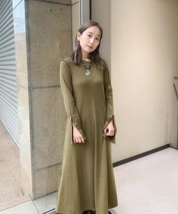 Kastane(カスタネ) サーマルフレア袖マキシワンピース