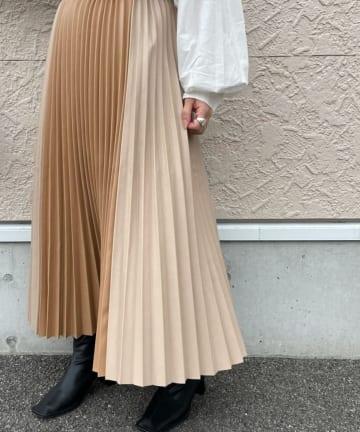 mona Belinda(モナ ベリンダ) 【新色追加】切替合皮プリーツスカート2