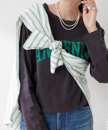 Discoat(ディスコート) カレッジ風ショート丈ロングTシャツ