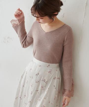 natural couture(ナチュラルクチュール) 前後2WAY袖口レースリブニット