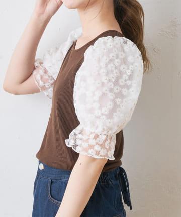 OLIVE des OLIVE OUTLET(オリーブ・デ・オリーブ アウトレット) リブ袖花刺繍プルオーバー