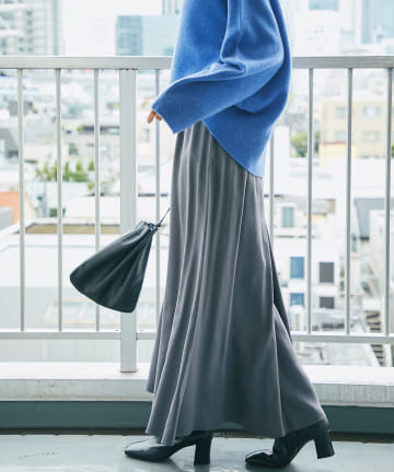 RIVE DROITE(リヴドロワ) 【軽やかで上品な素材が女性らしさを演出】ツイルロングスカート