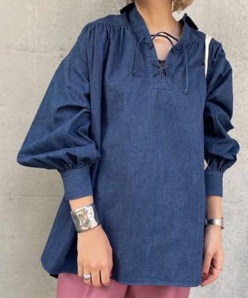 SHENERY(シーナリー) デニムレースアップシャツ