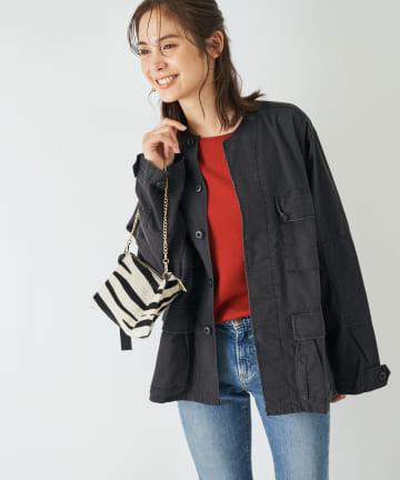 La boutique BonBon(ラブティックボンボン) 【女性らしく着られるノーカラー・ロスコ・洗える】ミリタリーシャツブルゾン