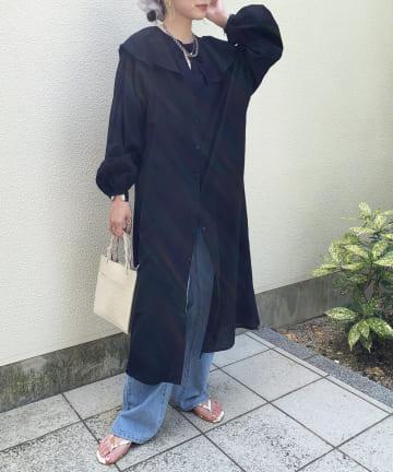Thevon(ゼヴォン) 【WEB限定】ワイドフリルカラーコットンシャツワンピース