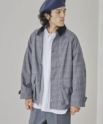 CPCM(シーピーシーエム) 襟コーデュロイチェックジャケット