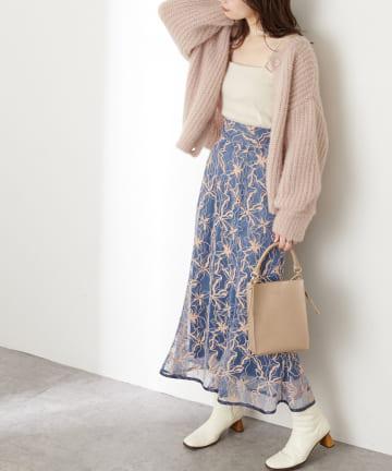 natural couture(ナチュラルクチュール) 【着用動画あり】長さ変えられるパイピングレーススカート