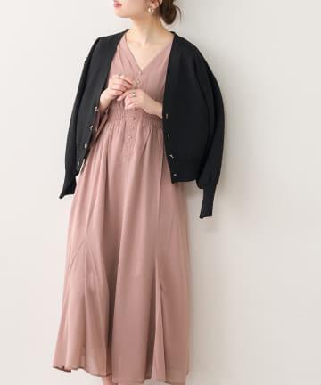 natural couture(ナチュラルクチュール) 【WEB限定カラー有り】ちび釦大人レディワンピース