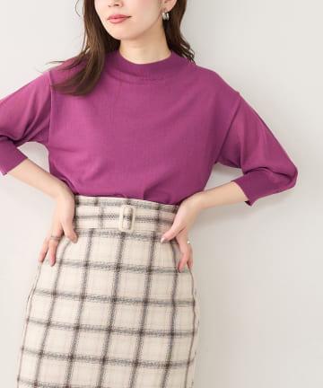 natural couture(ナチュラルクチュール) 便利な袖シアーシンプルプチハイニット