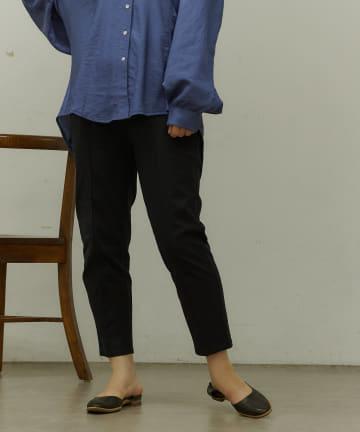BONbazaar(ボンバザール) 【大人気追加販売!新色登場】ピンタックテーパード麻混パンツ