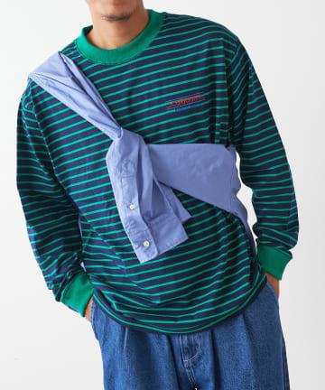 Discoat(ディスコート) 【CURIOSITY】リンガーボーダーロングTシャツ