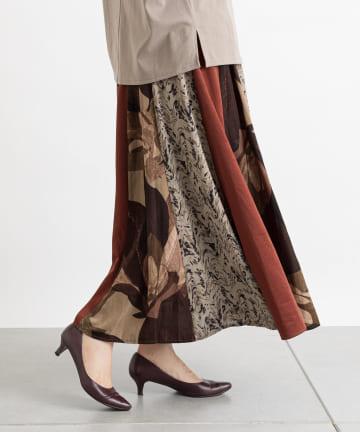 Pal collection(パルコレクション) 《秋色×パッチワーク》リーフ模様スカート