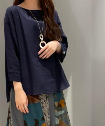 Pal collection(パルコレクション) 《こっくり深み秋カラー》麻混7分袖トップス