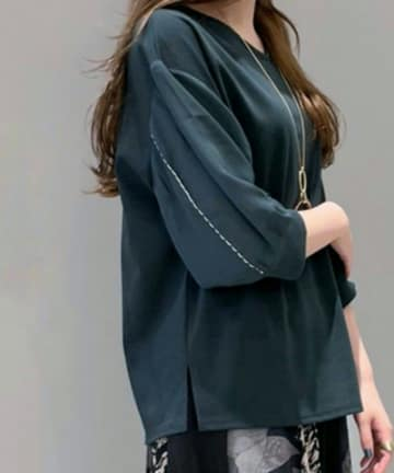 Pal collection(パルコレクション) 《秋色×半袖》ステッチ刺繍袖カットソー