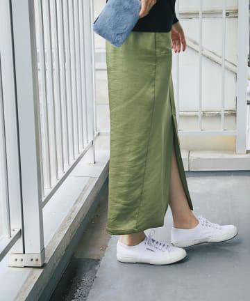un dix cors(アンディコール) 《予約》【旬なカラーで大人スタイリング】ヴィンテージサテンナロースカート